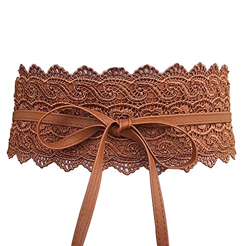 Lace Leather Wrap - Women's Lace Waist Belt Bow Tie Wrap Around Soft Leather Boho Corset Fashion Elegant for Dresses (Brown)