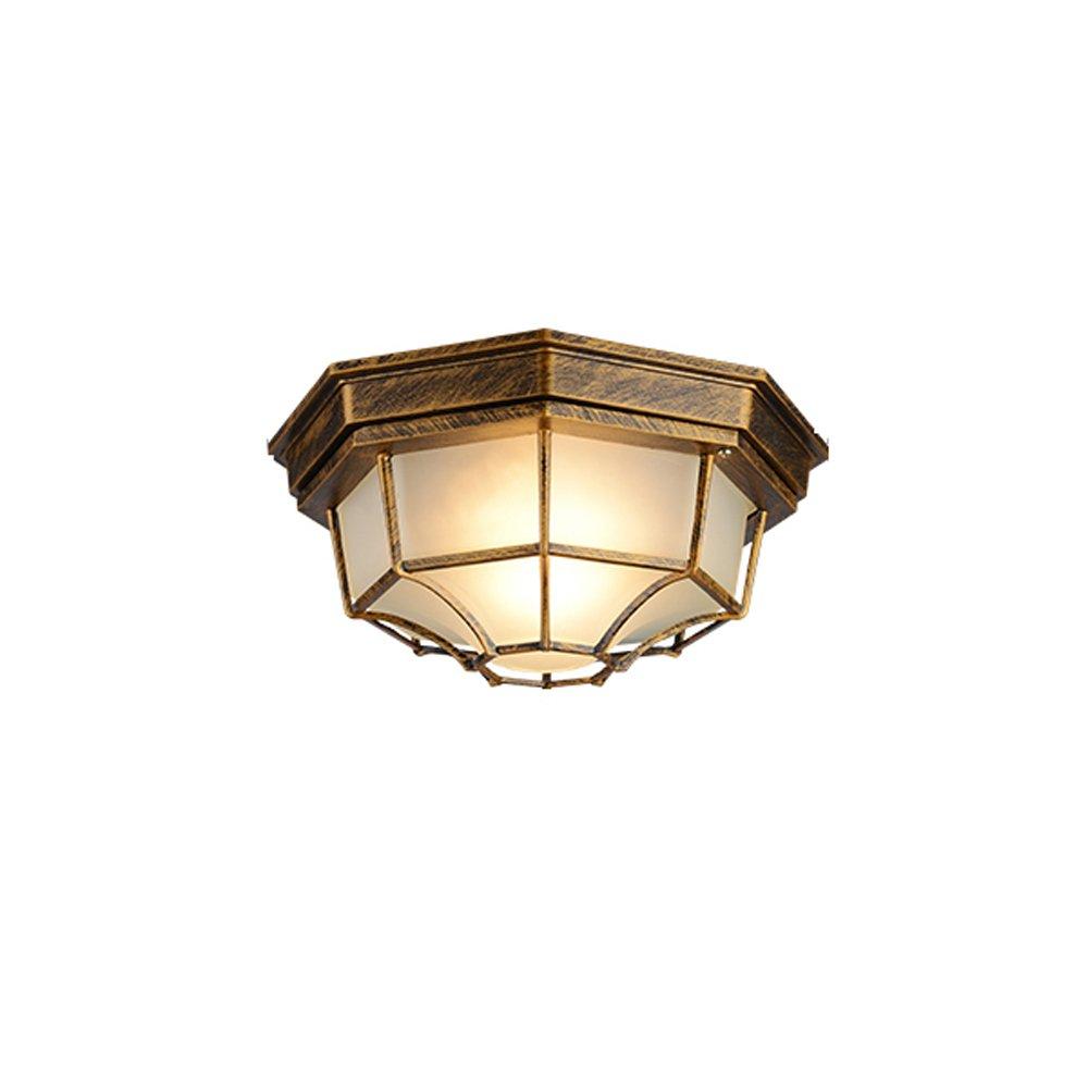 Outdoor Waterproof Ceiling Lamp American Balcony Lamp European Outdoor Patio Corridor Door Aisle Ceiling Lights ( Color : Bronze )