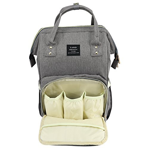 Baby Diaper Bag Large Capacity Mommy Backpack Baby Nappy Tote Bags Multi-function Travelling Backpack for Mom Travellers Nurses Students (Dark Grey)