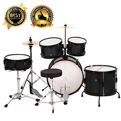 BestMassage Drum sets Kids Children Complete Black Junior Drum with Adjustable Thron
