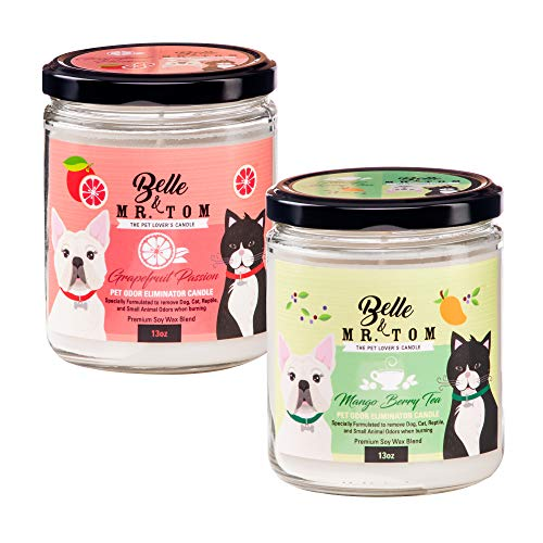 Belle & Mr. Tom - Pet Odor Eliminator Candle - Soy Blend, 70 hr Burn Time, Cotton Wick, Scented Jar Candles - Grapefruit Passion/Mango Berry Tea Combo 2 Pack (13oz)