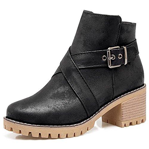 Cerniera Con Nera Scarpe Pelle Mid Fashion Taglia Womens Ladies Decostain Heel In Block Stivaletti wxzvZ1qTO