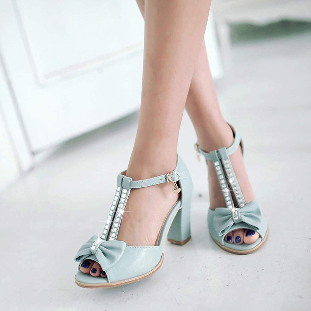 OTOSU Womens Chunky Heel Peep Toe Sandals Rhinestone T Strap Cute Bowknot High Block Heel Dress Sandal