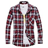 OCHENTA Men's Long Sleeve Plaid Flannel Shirt N039 Red White UK Size 2XL+ (Label Size 6XL)