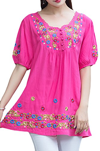 Embroidered Peasant Blouse - AsherFashion Asher Fashion Girls Embroidered Peasant Tops Bohemian Blouses Tunic (XX-Large, Rose)