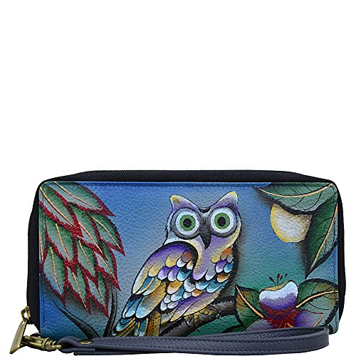 Anna by Anuschka Genuine Leather Clutch/Wallet | Full Zipper Closure and Rear Zipper Pocket | Hand Painted Leather Accessories for Women | Custom Made and Artisan Inspired | Midnight Owl