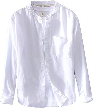 Hombre Camisa Lino Casual Manga Larga Sin Cuello Blusa Suelta Camiseta Basica Shirts: Amazon.es: Ropa y accesorios