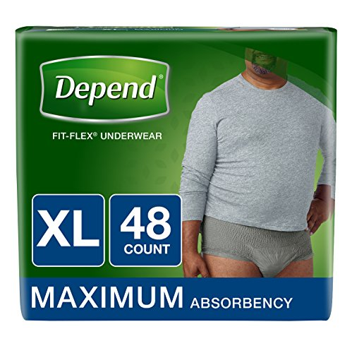 (Depend FIT-Flex Incontinence Underwear for Men, Maximum Absorbency, XL, Gray, 48 Count (Packaging May Vary))