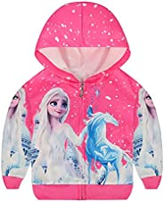 AmzKids Girls Hoodie Princess Sweater Toddler Sweatshirt Zip Up Outwear Kids Coat with Hat Children Jacket