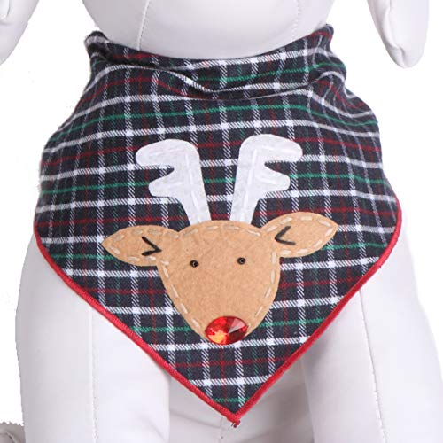 Tail Trends Christmas Dog Bandanas with Red Nosed Rudolph Designer Appliques 100% Cotton