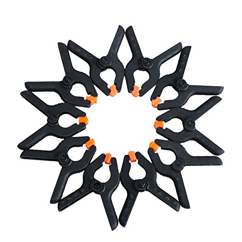 DR.Machinist 20-piece Spring Clamps Nylon Clamps with Orange Clamp Ends, 2 Inch Black Muslin Clamps for Sorts of Projects (20 Clamp)