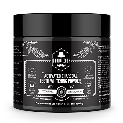 Charcoal Teeth Whitening Powder by Moody Zook, 2.7 oz Natural Sage Coconut Charcoal Toothpaste, Activated Charcoal Powder Organic -- Super Fine Texture for Sensitive Tooth - Scratches Toothpaste For