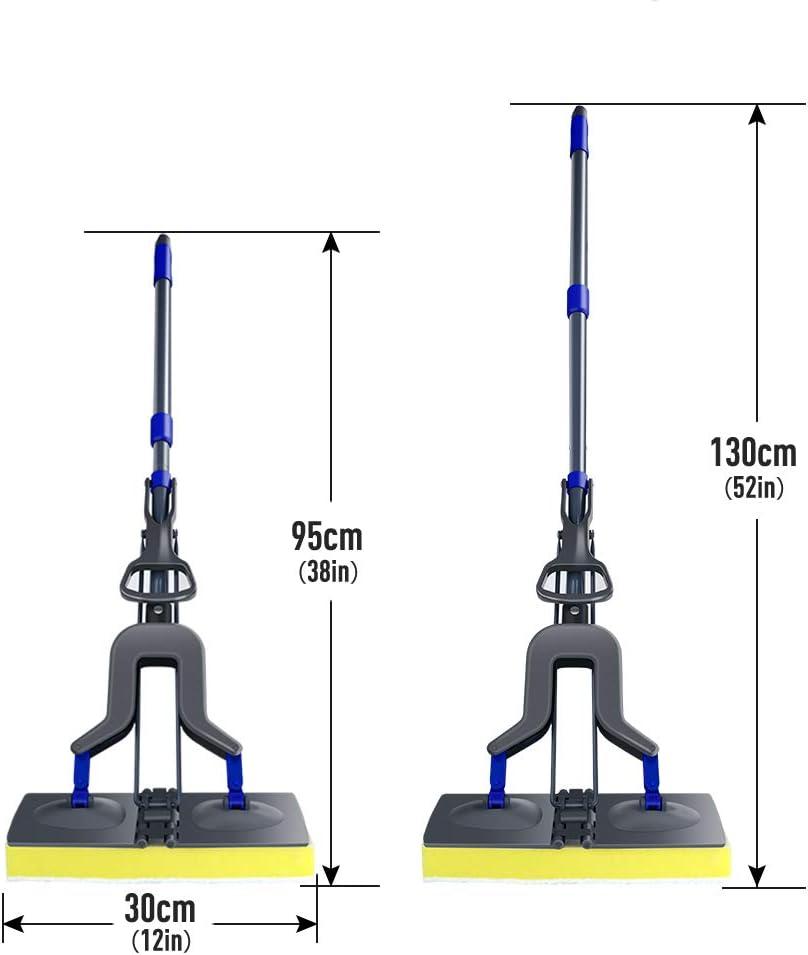 Mocio in Spugna con Manico Telescopico in Acciaio Inox Mocio per Pavimenti Professionale con 2 Testa in Spugna Super Assorbente e 1 Stantuffo per WC Mop in Spugna Lavapavimenti Masthome