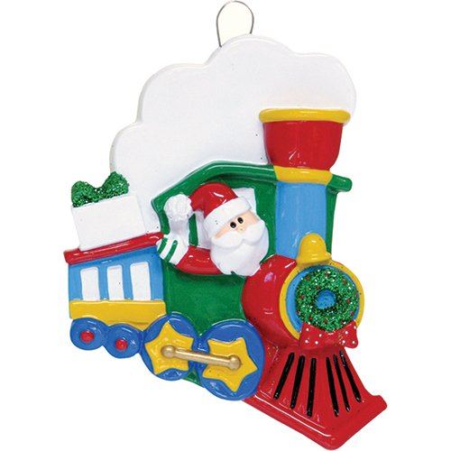 Personalized Santa Train Christmas Ornament for Tree 2018 - Red Express Locomotive Car with Steam Green Wreath - Classic Story Claus Toy Grand-kid Child Love Baby's First Gift Blue Free Customization