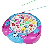 Electronics Kids Best Deals - Fajiabao Go Fishing Game Funny 4 Fishing Poles 21 fishes Electronic Toys Set with Music and Bright Light for Early Educational Kids Boys Girls 3 Years old and up Christmas Gifts, Color May Vary