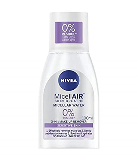 NIVEA MicellAIR Skin Breathe Micellar Water 3 en 1 Sensitive Maquillaje, 100 ml