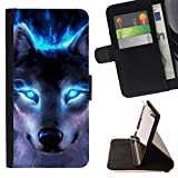 STPlus Blue Eyes Wolf Animal Wallet Card Holder Cover Case for Motorola Droid Turbo 2