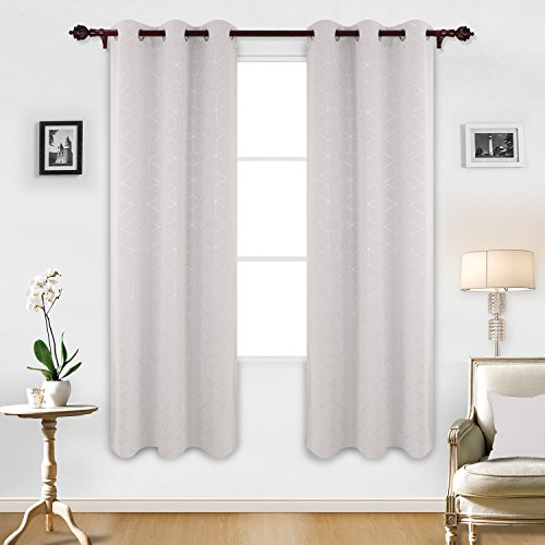 Room Foil (Deconovo Sliver Diamond Foil Print Grommet Room Darkening Thermal Insulated Curtains Blackout Window Panels for Bedroom Width 42 Inch by Length 84 Inch Greyish White Two Curtain Panels)