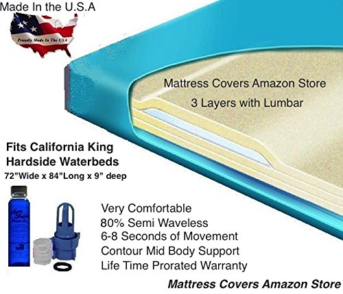 Semi Wave Waterbed Mattress - California King 80% Semi Waveless Waterbed Mattress with Lumbar Support