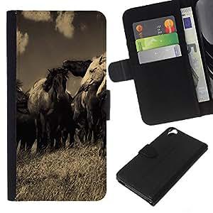 All Phone Most Case / Oferta Especial Cáscara Funda de cuero Monedero Cubierta de proteccion Caso / Wallet Case for HTC Desire 820 // Horses Black White Sepia Old Nature Vintage