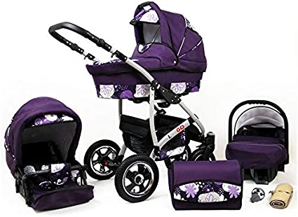 Travel System Stroller Pram Pushchair 2in1 3in1 Set Isofix New L-Go by SaintBaby Black /& White dots 3in1 with Baby seat