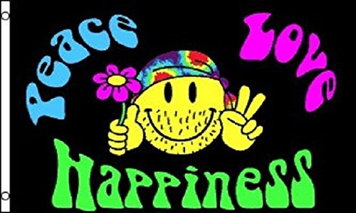Peace Love and Happiness Flag Hippie Party Banner