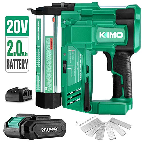KIMO 20V 18 Gauge Cordless Brad Nailer Stapler Kit, 2 in 1 Cordless Nail Staple Gun w Lithium-Ion Battery Fast Charger, 18GA Nails Staples, Single or Contact Firing for Home Improvement, Woodworking