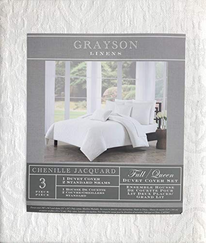 Grayson Linens 3pc Duvet Cover Set Solid Cream/Off-White French Style Damask Chenille Jacquard Textured Pattern (Full/Queen) (Comforter Set Grayson)