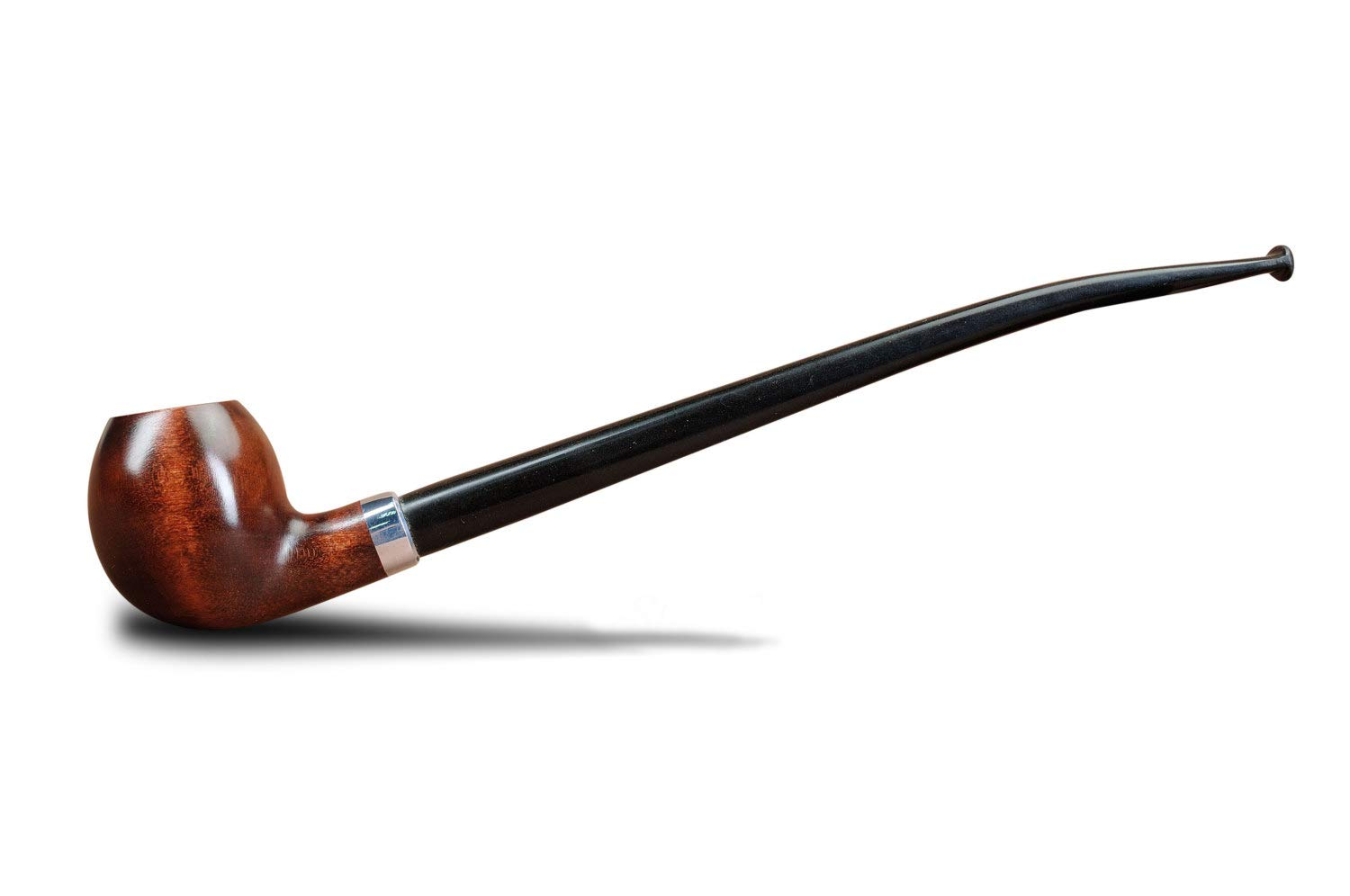 KAFpipeWorkshop Churchwarden pipe handmade from pear wood with long ebonite stem 9.5 inch + pipe pouch