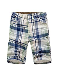 YOLL Men's Casual Summer Washed Plaid Messenger Cargo Short