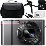 Panasonic Lumix DMC-ZS110 / ZS100 / TZ100 / TZ110 Digital Camera (Silver) 6PC Bundle – Includes 32GB SD Memory Card + More - International Version (No Warranty)