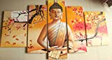 5 Panel Wall Art Religion Buddha Oil Painting On Canvas Picture Framed Ready to Hang