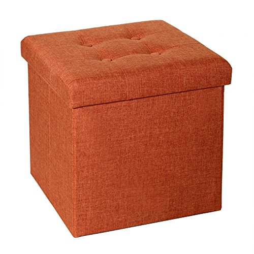 - Seville Classics Foldable Tufted Storage Ottoman, Burnt Orange