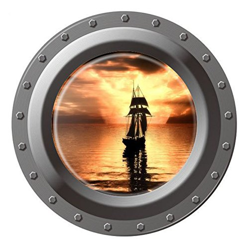 "Homefind (17""w x 17""h) 3D High Definition Faux Submarine Porthole View Ship on the Sea in the Morning Wall Stickers Removable Vinyl Murals Decals Kids Room Bedroom Nursery Wall Decoration"