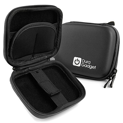 DURAGADGET Premium Quality Black Hard EVA Shell Case with Carabiner Clip & (Ee Cam)