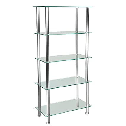 Mayuber 5 Tier Glass Shelving Unit Clear Glass Tempered ...