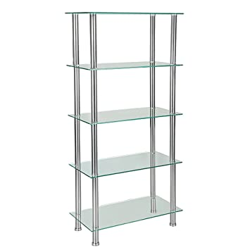 Glass Shelving Unit Bookcase 5 Tier With Chrome Legs Table Shelf Rack For Living  Room Furniture