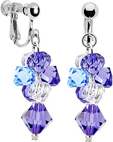 Handcrafted Blue Purple Cascading Drop Clip Earrings Created with Swarovski Crystals