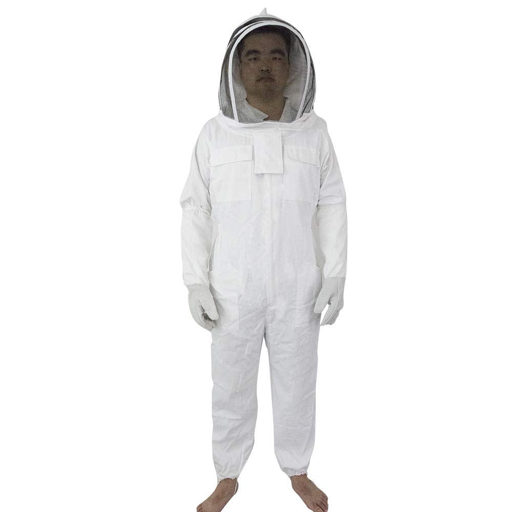 Professional Cotton Full Body Beekeeping Suit w//Supporting Veil Hood-XX Large W