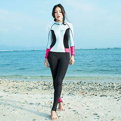 YEZIJIN Women 0.5mm Neoprene Long Sleeve Diving Wetsuit Spearfishing Suit Swimwear Wetsuit top Long/Short Sleeve Sky Blue by Yezijin_Swimsuit (Image #3)