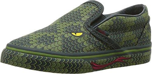 Vans Boy's Classic Slip-On Skateboarding Shoe (Green Lizard, (Classic Boys Slip On)