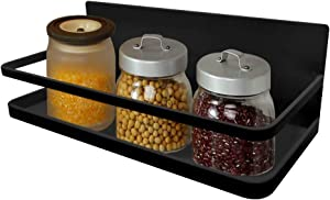 Spice Rack, MONOLED Spice Rack Organizer, Magnetic Single Tier Fridge Spice Rack Shelves Organizer, Space Saving Storage Rack for Refrigerator Kitchen Cabinet Cupboard Pantry Door Seasonings (Black)
