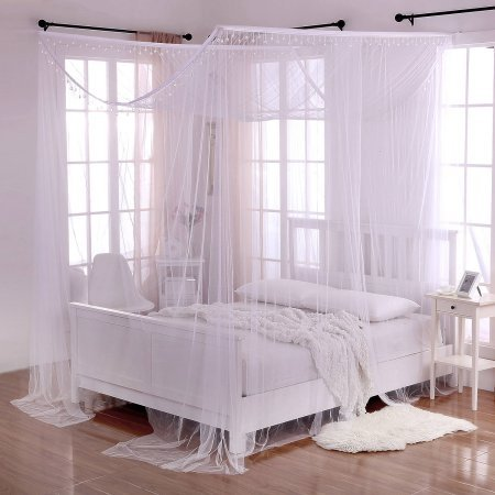 Palace Crystal 4-Post Bed Sheer Panel Canopy by Beds