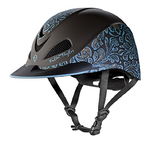 Fallon Taylor Troxel Turquoise Floral Horse Riding Helmet Low Profile Adjustable (Small) (Spirit Troxel Schooling Helmet)