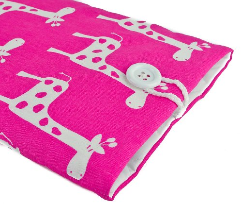Kuzy PINK Giraffe Handmade Cotton Sleeve Cover 13-Inch for Macbook PRO 13-Inch (fits MacBook with or w/out Retina Display) and MacBook Air 13-Inch and White MacBook #32 ()