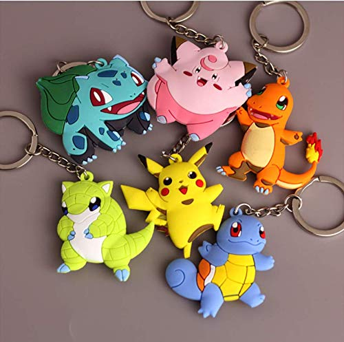 AG Goodies Cartoon Pikachu Rubber Keychains Anime Key Rings Party Favors for Childrens Birthday Supplies Goody Bags, Set of -