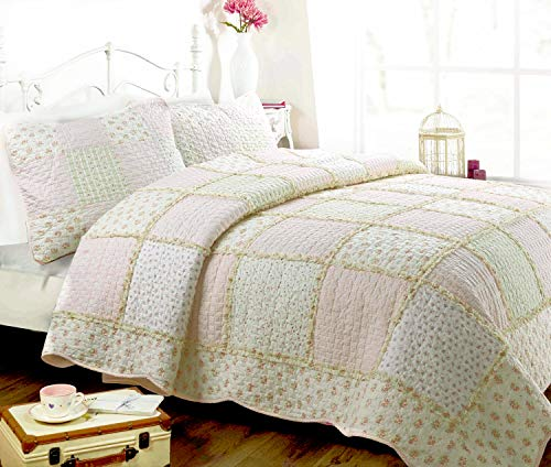 (Cozy Line Home Fashions Sweet Peach Floral Light Pink Printed 3D Real Patchwork 100% Cotton Quilt Bedding Set, Reversible Coverlet Bedspread,Gifts for Her Girl Women (Peach, Full/Queen - 3 Piece) )