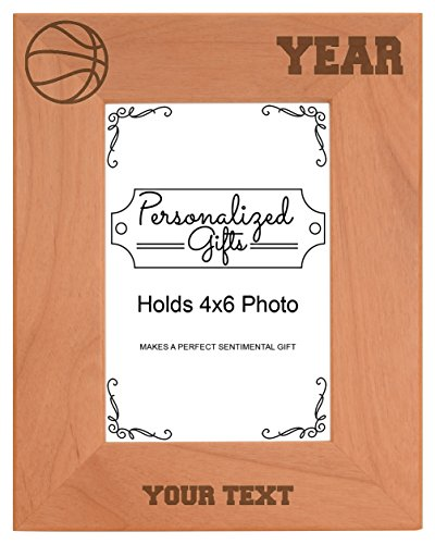 Custom Basketball Coach Gift Add Text Personalized Natural Wood Engraved 4x6 Portrait Picture Frame ()