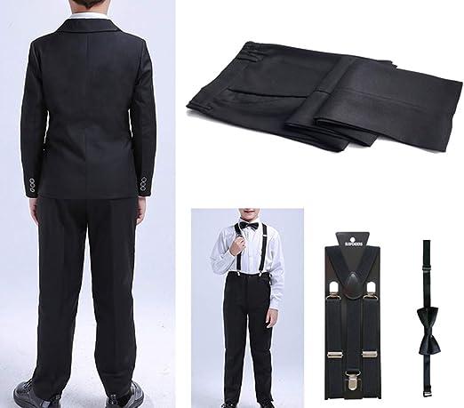 lonta kids 5Pcs Boys Black Suit Formal Tuxedo Blazer Vest Bowtie Pants Dresswear Set for Wedding