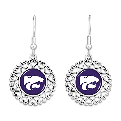 - FTH Kansas State Wildcats Logo Circle Earrings with Hearts